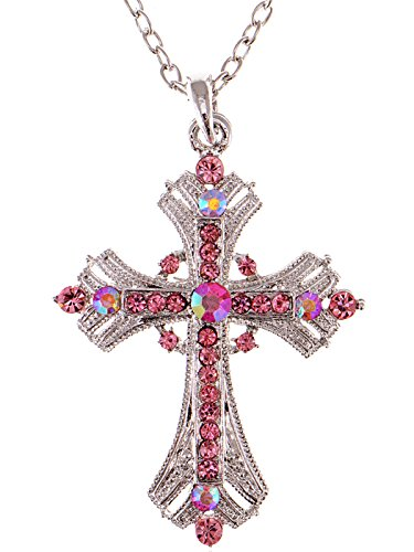 (Alilang Silvery Tone Religious Cross Pendant Necklace w/Rose Pink Crystal Rhinestones)