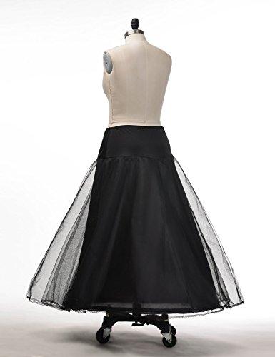 Topwedding nylon boda enaguas Una linea tiene tres capas Negro