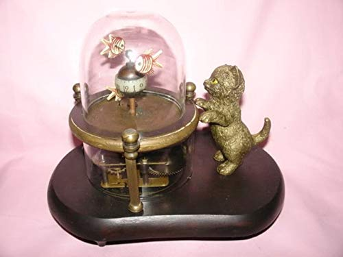 BeesClover Rare Works Wonderful Fish-Pot Glass Machine Clock with Cute cat 7.5# Copper Tools Wedding Decoration Brass Show by BeesClover (Image #5)