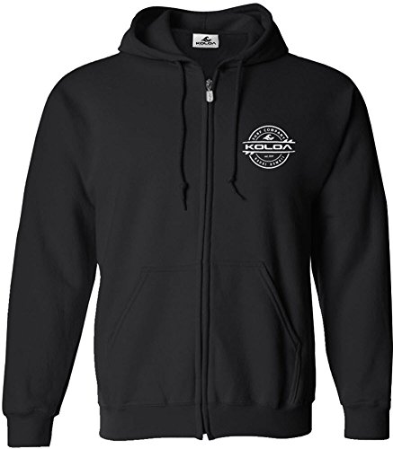 Joe's USA Koloa Thruster Surfboards Logo Full Zipper Hoodie-Black/w-XL (Logo Black Hoodie Big)