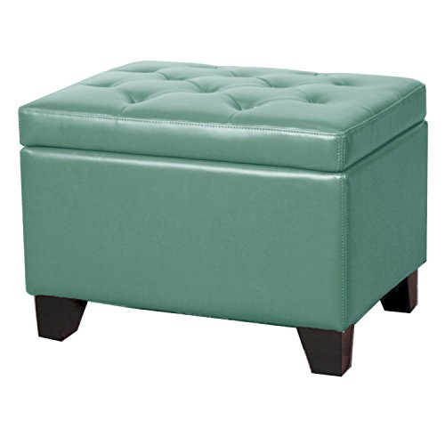 (New Pacific Direct 194424B-323 Julian Rectangular Bonded Leather Storage Ottoman Furniture Turquoise)