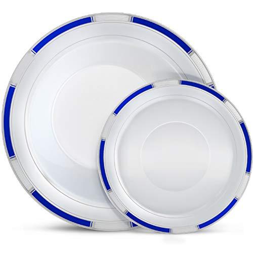 (Laura Stein Designer Dinnerware Set | 32 Disposable Plastic Party Bowls | White Bowl with Blue Rim & Silver Accents | Includes 16 x 12 oz Soup Bowls + 16)