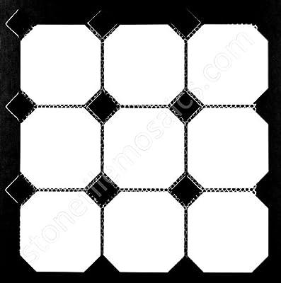 "Vogue 4"" Octagon Tile Matte White with Glossy Black Dots Porcelain Mosaic for Bathroom Floors and Walls, Kitchen Backsplashes, Pool Tile"
