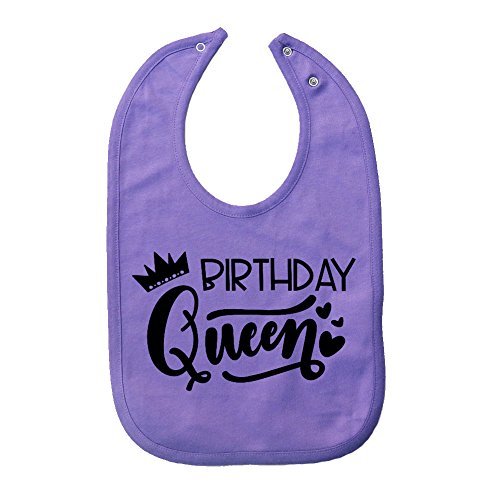 Mashed Clothing Unisex-Baby - Birthday Queen - Fun & Trendy - Thick PREMIUM 2-Ply Cotton Baby Bib With Snaps (Lavender Snap)