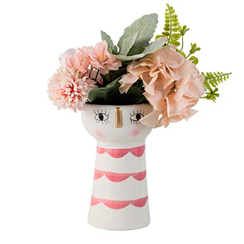 Tenforie Ceramic Flower Vase Elegant Decorative Hand Painting Modern Floral Vase for Home Decor, Wedding, Housewarming Gifts, Bottom Waterproof - 6 3/4 inch
