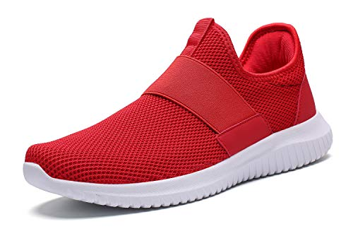 La Moster Men's Athletic Running Shoes Fashion Sneakers Casual Walking Shoes for Men Tennis Baseball Racquetball Cycling (42 M EU /8.5 D(M) US, Red/White)