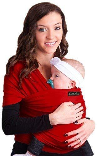 Porte bébé CuddleBug - Écharpe de portage rouge pour bébé - ENTIÈREMENT NATURELLE - Taille Unique (Rouge) product image