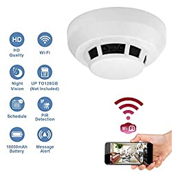 Wi Fi 1080p Hidden Smoke Detector Camera Night Vision Motion Detection Wireless Ip Camera Security Wall Mount Nanny Cam Home Camera Remote Control Android Ios Free App Pc View