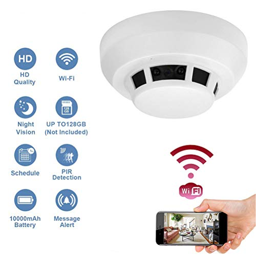 Wi-Fi 1080P Hidden Smoke Detector Camera Night Vision Motion Detection Wireless IP Camera Security Wall Mount Nanny Cam Home Camera Remote Control Android iOS Free App PC View ()
