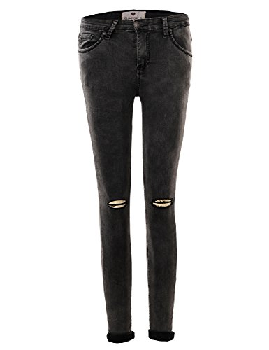 GLOSTORY Women's Juniors Basic Stretch Skinny Jeans Mid Waist Five Pockets Slim Fit Pencil Pants 3295 (4, Dark Gray)