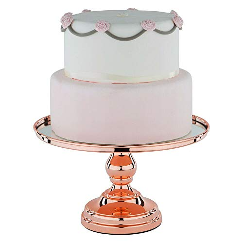 """TFCFL 12"""" Plated Mirror Cake Stand Round Chrome Metal Wedding Display Pedestal Wedding Cake Stands Plates (Rose gold) from TFCFL"""