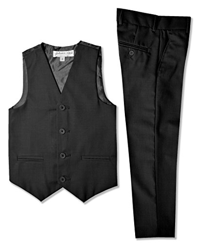 Johnnie Lene Boys Formal Vest and Pants Set #JL42 (7, Black) ()