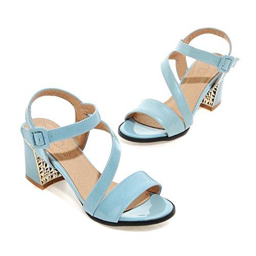 Donne QIN Sandali del Toe Talloni Le Peep amp;X blu di Blocco EBqrBw