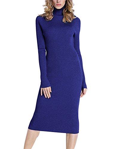 Rocorose Women's Turtleneck Ribbed Elbow Long Sleeve Knit Sweater Dress Blue XXL