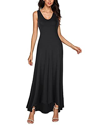 GlorySunshine Women's Casual V Neck Sleeveless Summer Cami Long Maxi Dresses with Pockets