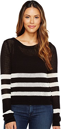 Splendid Women's Halloway Striped Mesh Sweater, Black/Natural, X-Small ()