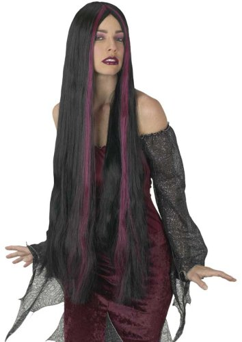 Adult Long Black/Burgundy Streaked Witch Wig