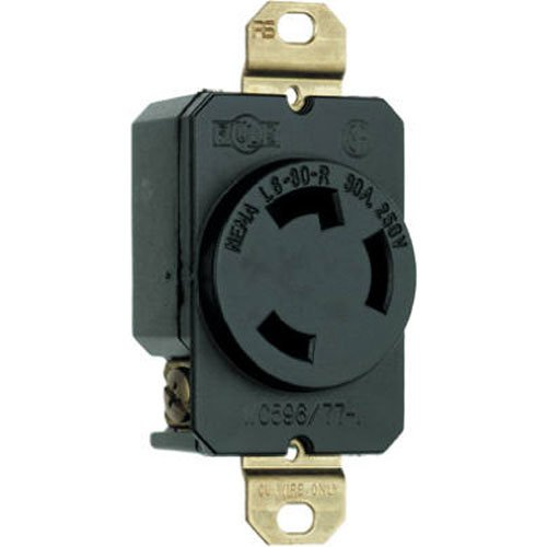 Legrand-Pass & Seymour L630RCCV3 3-Wire Grounding Locking Receptacle 30 Amp 250-Volt, Black