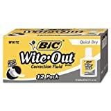 BIC Wite-Out Brand Extra Coverage Correction Fluid, 20 ml, White, 3-Count (Quick Dry (12))