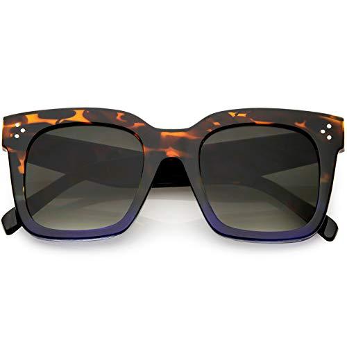 Brown Replica Sunglasses - zeroUV - Bold Flat Lens Oversized Square Frame Horn Rimmed Sunglasses 50mm (Tortoise-Blue Fade/Lavender)