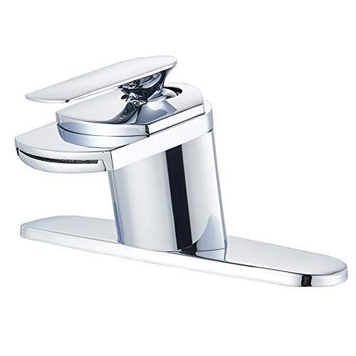 Votamuta Chrome Waterfall Bathroom Basin Sink Vanity Faucet Deck Mounted Mixer Taps with Widespread Hole Cover Plate