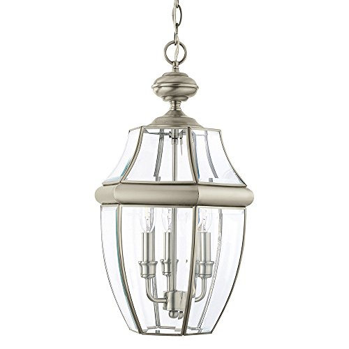 Pendant Medium Outdoor Lighting (Sea Gull Lighting 6039-965 Lancaster Three-Light Outdoor Pendant Light With Clear Curved Beveled Glass Panels, Antique Brushed Nickel Finish)
