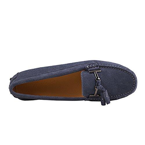 ShenDuo Damen Mokassins Lederschuhe Casual Slipper Sommer Schuhe mit Metallschnallen und Bällchen D7057 Grau
