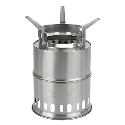 EOTW Portable Wood Burning Camping Stove Collapsible Stainless Steel Alcohol Stove Backpacking Outdoor Cooking Stove (Large(8.5X6.5 inches))