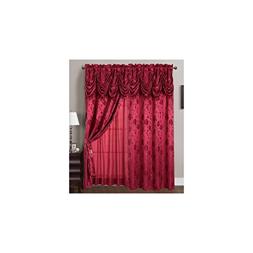 RT Designers Collection Kelly Jacquard 54 x 84 in. Rod Pocket Curtain Panel w/ Attached 18 in. Valance, Burgundy