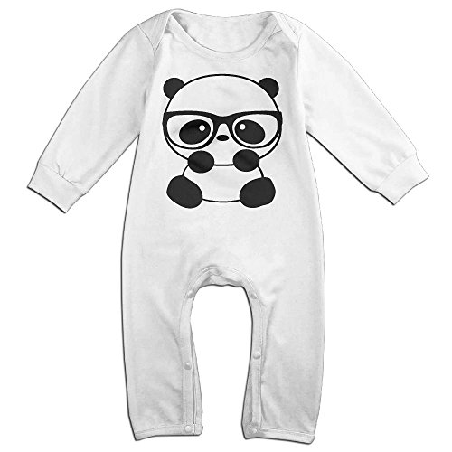 Flannel Nerd Costume (Baby Infant Romper Panda Nerd With Glasses Long Sleeve Bodysuit Outfits Clothes White 24 Months)