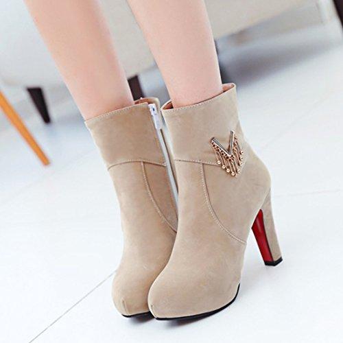 YE Damen Blockabsatz Ankle Boots Geschlossene Gefütterte Stiefeletten Plateau mit Reißverschluss und 10cm Absatz Elegant Kurzschaft Schuhe Aprikose