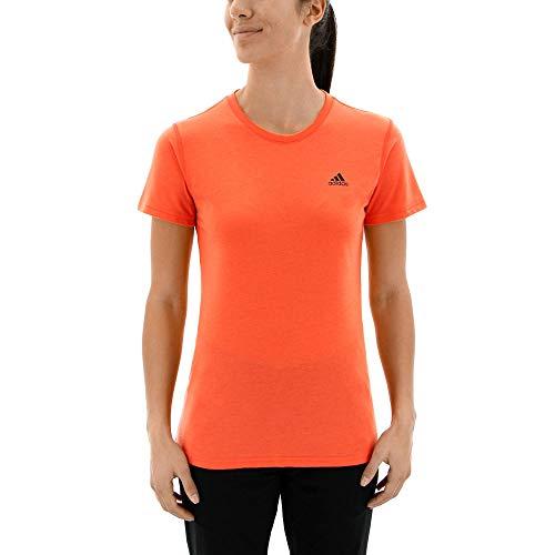 adidas Womens Training Ultimate Short Sleeve Tee, Easy Coral/Black, Large