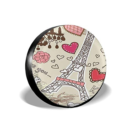 Illustration of Eiffel Tower Hearts Chandelier Flower Love Leader Accessories Spare Tire Cover,Waterproof Dust-Proof(Fit 23-32 Inches) ()