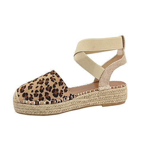 (Aunimeifly Ladies Cross Elastic Band Cane Platform Open Heel Covered Toe Sandals Canvas Espadrilles Shoes Brown )