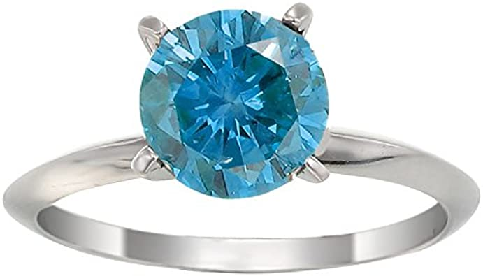 2ct Natural Swiss Blue Topaz /& 1//8 ct Diamond Ring in Sterling Silver /& 14K Gold