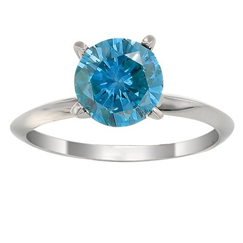 1/2 CT Blue Diamond Solitaire Ring 14K White Gold In Size 7 (Available In Sizes 5 – 10)