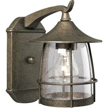 - Progress Lighting P5763-86 1-Light Wall Lantern with Wire Frames and Clear Seeded Glass, Burnished Chestnut