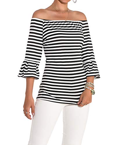 SUBWELL Women's Off Shoulder Flared Sleeve Black and White Stripe T Shirt Top ()