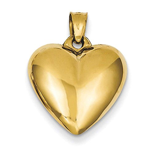 14k Yellow Gold 3-D Puffed Polished Heart Charm Pendant ()