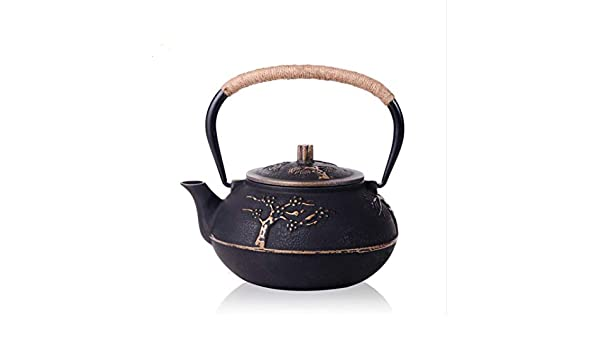RUIKA Japanese tetsubin Cast Iron Teapot Plum Blossom Kettle Black 900ml 30 Ounce