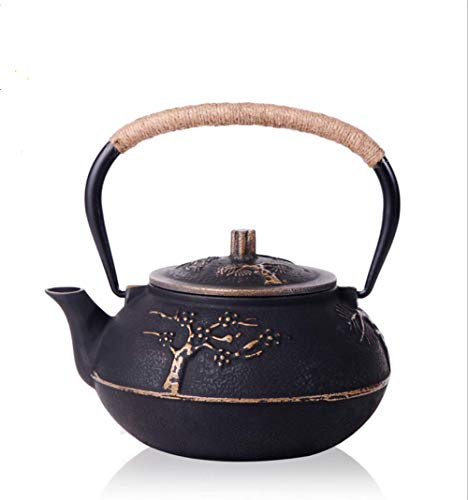 - RUIKA Japanese tetsubin Cast Iron Teapot Plum Blossom Kettle Black 900ml 30 Ounce