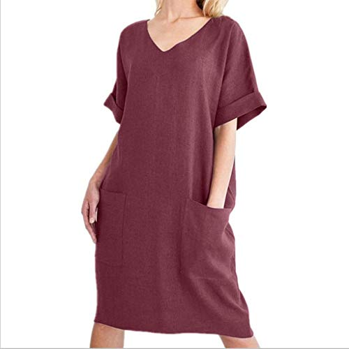Alangbudu Women Blouse Short Roll Up Sleeve V Neck Tank T-Shirt Flare Loose Fit Midi Shift Dress Knee Length with Pocket Red ()