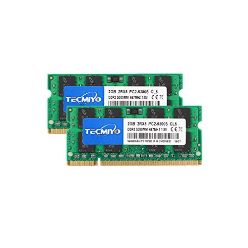 Pc2 Pin 5300 200 Laptop (TECMIYO 4GB Kit (2x2GB) DDR2 667MHz PC2-5300 PC2-5300S Non ECC Unbuffered 1.8V CL5 2RX8 Dual Rank 200 Pin SODIMM Laptop Notebook Computer Memory Ram Module)