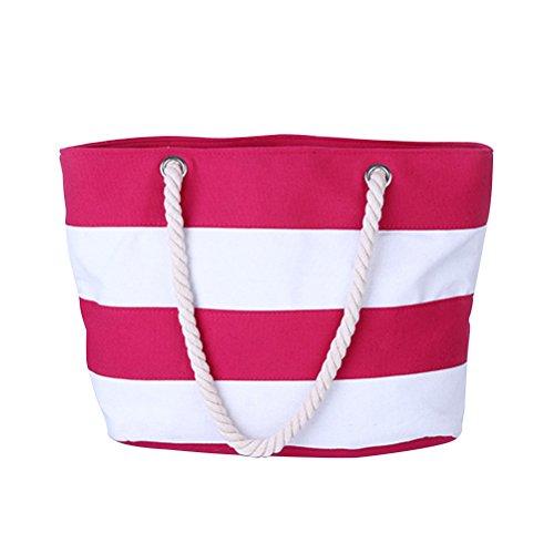 Zhhlaixing Bolsa de Playa para Mujeres Diseño Simple Zip Closure Lona Bolso de Mano Bolsa de la Compra Con Bolsillo Interior Rose Red & White