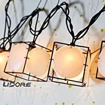 LIDORE 10 Counts Bronze Metal Cube Lanterns With Shell Chips String Lights. Great For Indoor/Outdoor Decoration. Warm White Light.