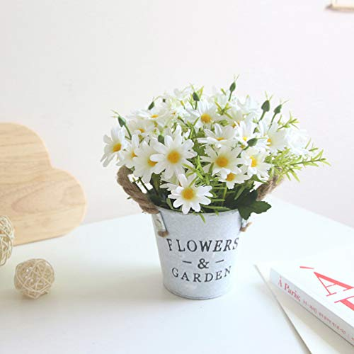 UUPP Potted Artificial Daisy Flowers Bonsai Plant Fake Flowers in Metal Pot Silk Flower Arrangements for House Office Restaurant Table Centerpieces Windowsill Decor, White
