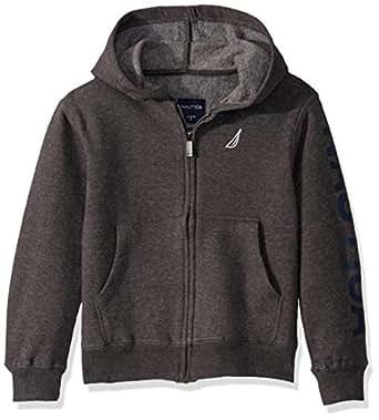 Nautica Boys' Toddler Fleece Sleeve Full Zip Logo Hoodie, Coal Heather, 2T