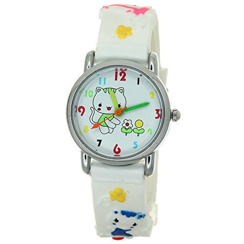 Hello Kitty 3D Silicone Strap Round Case Japanese Quartz Kids Waterproof Clasp Rubber Band Arabic Numerial with Kitty Character Dial Children Toddler Wristwatches Time Teacher Boys Girls Watches