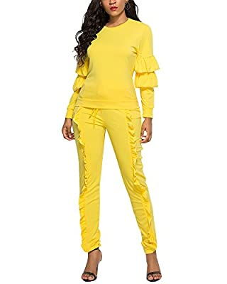 Lexiart Women Sport Suits Ruffle Long Sleeve Top and Pants 2 Piece Tracksuits Outfits Sweatsuits
