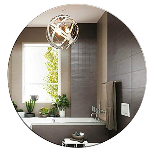 SDK Bathroom Wall Mounted Barber Mirror Round Frameless Makeup Mirror For Bathroom Washroom Shed (Size : 50CM)